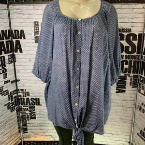 Fred David Gray Polka Dot Button 3/4 Sleeve Top
